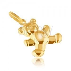Arany medál - csillogó enyhén gravírozott maci, lekerekített felszín