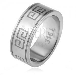Gyűrű 316L acélból, matt felszín, görög kulcs minta