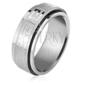 Acél gyűrű, csavarható matt karika fényes görögkulcs mintával