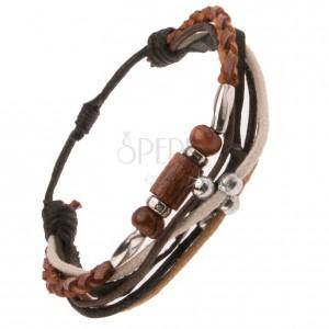 Multikarkötő, barna bőrfonat, fekete sáv, gyöngyök, fonalak