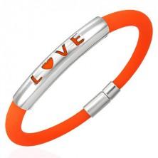 Narancssárga szilikon karkötő - LOVE felirat