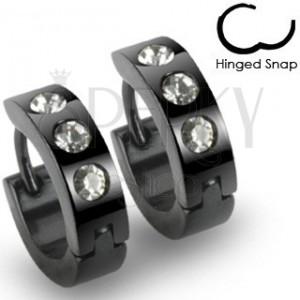 Fekete kerek acél fülbevaló, három átlátszó kő