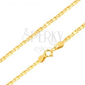 Arany lánc - összekapcsolt fényes ovális szemek, 450 mm