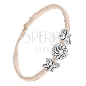 Krémesfehér színű zsinóros karkötő, kerek tábla virággal, lepkee