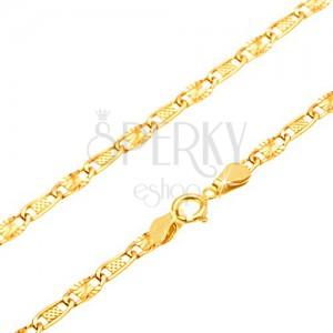 Nyaklánc 14K sárga aranyból - hálómintás és sugaras elemek, 440 mm