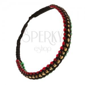 Gyöngyös karkötő, sárga, piros és zöld vonal, fekete zsinór