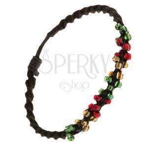 Csavart karkötő fekete színű zsinórokból és színes gyöngyökből