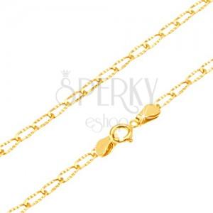 Nyaklánc 14K sárga aranyból - fényes hosszúkás szemek vésetekkel, 545 mm