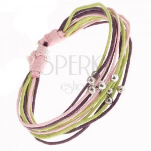 Karkötő rózsaszín, lila és zöld zsinórokból, ezüst gyöngyök