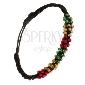 Karkötő csavart mintával, fekete zsinór, színes gyöngyök