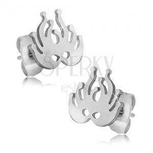 Fülbevaló sebészeti acélból, ezüst színű álarc