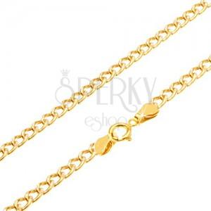 Nyaklánc 14K sárga aranyból - ovális vastagabb szemek, vésetek, 450 mm