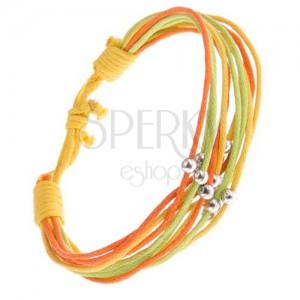 Zsinóros karkötő sárga, narancssárga és zöld színben, golyók