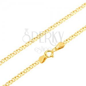 Nyaklánc 14K sárga aranyból - csillogó kettős lapos szem, 500 mm