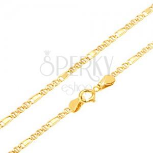 Arany nyaklánc - három ovális szem, téglalap a fényes elemben, 455 mm