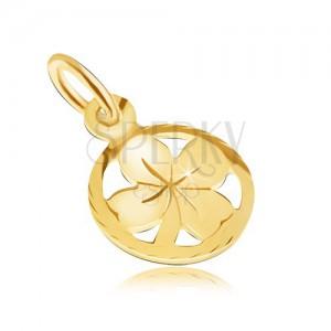 Arany medál - kis négy levél a kerek gravírozott rámában