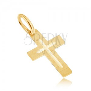 Medál 14K sárga aranyból - lapos szatén latin kereszt, gravírozott