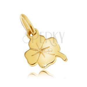 Arany medál - apró lapos négy levél, enyhe gravírozott vonalak