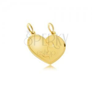 Kettős medál 14K sárga aranyból - szabályos szív, puzzle, Amor