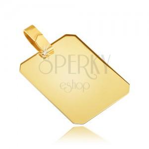 Arany medál - fényes sima téglalapos tábla, lemetszett szélek