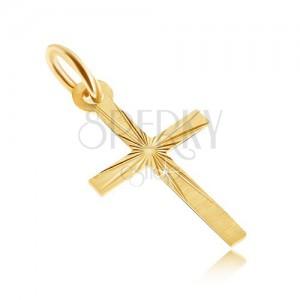 Arany medál - lapos latin kereszt, szatén felszín, sugaras vésetek