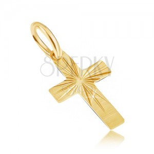 Arany medál - kis latin kereszt, vastagabb szárak, szatén felszín, vésetek