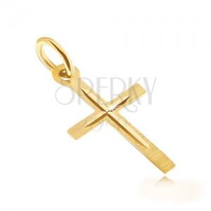 Arany medál - szatén latin kereszt, fényes kivésett kisebb kereszt