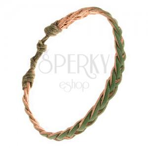 Hármasfonattal fonott bőr karkötő, vékony zöld sávok