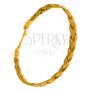 Sárga karkötő bőrfonatokból, fonat