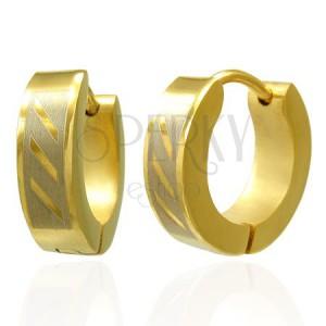 Aranyozott fülbevaló acélból - három átlós vonal