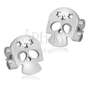 Fényes acél fülbevaló, koponya három csillag kivágással