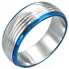 Gyűrű sebészeti acélból két kék sávval