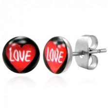 Fekete nemesacél fülbevaló - piros szív és LOVE felirat
