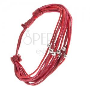 Multikarkötő, piros és sötétrózsaszín zsinórok, ezüst színű gyöngyök
