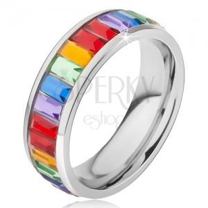 Gyűrű sebészeti acélból, fényes színes köves sáv