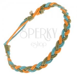 Kék-narancs-zöld zsinóros karkötő, hármasfonat