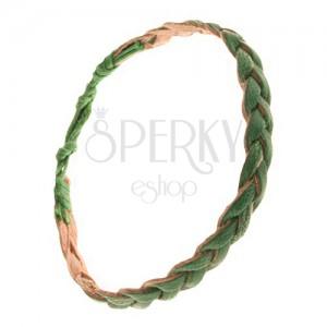 Karkötő fűzöld színű bőrsávokból, fonat