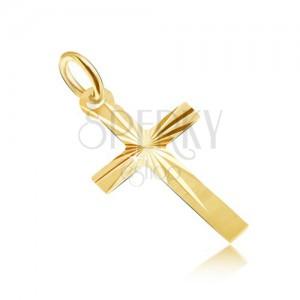 Medál 14K sárga aranyból - lapos szatén kereszt sugaras vésetekkel
