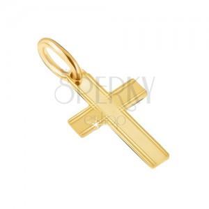 Medál 14K sárga aranyból - fényes latin kereszt, vékony vésetek a szélein