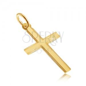 Arany medál - csillogó lapos latin kereszt, vékony vésetek a szélein