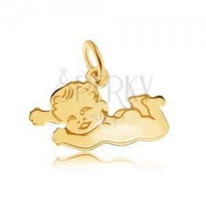 Lapos medál 14K sárga aranyból, fényes hasán fekvő meztelen gyermek