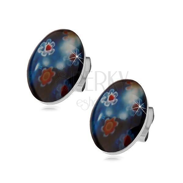Stekkeres acél fülbevaló, kék ovális színes virágokkal