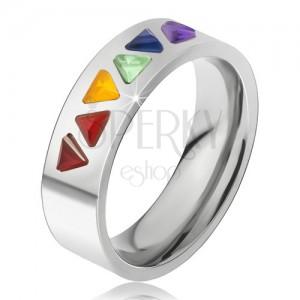 Fényes acél gyűrű, színes háromszöges kövek
