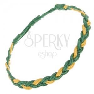 Zsinóros karkötő sárga-zöld színben, hármasfonat