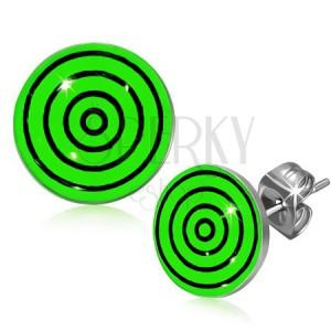Acél fülbevaló, fekete és zöld körök a fénymáz alatt