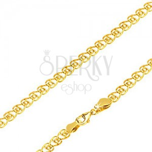 Nyaklánc 14K sárga aranyból, szívecskés szem csavart végekkel, 450 mm