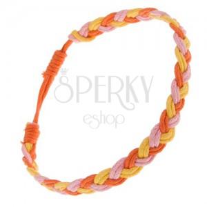 Fonott zsinóros karkötő sárga, rózsaszín és narancs színben