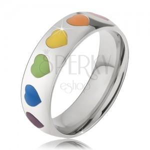 Sebészeti acél karika gyűrű, színes fénymázas szívek