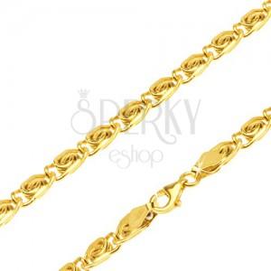 """14K sárga arany nyaklánc - részek """"s"""" movívummal, egyenes, 510 mm"""