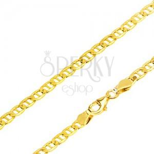 Nyaklánc 14K sárga aranyból - elipszis alakú részek pálcikával elválasztva, 510 mm